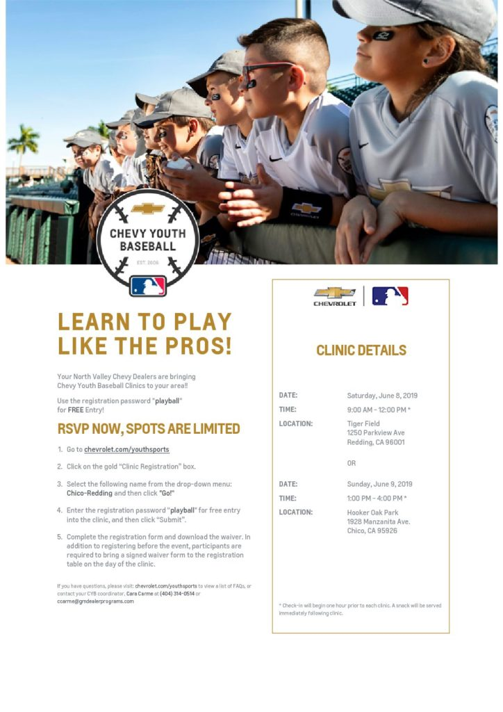 "Redding Colt 45s Host ""Chevy Youth Baseball Clinics"""