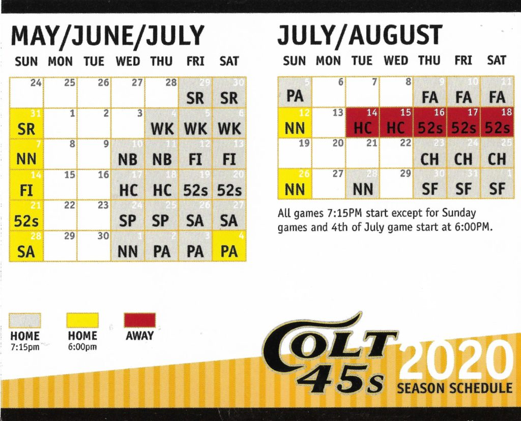 UPDATE: Colt 45s season still set to begin in late May