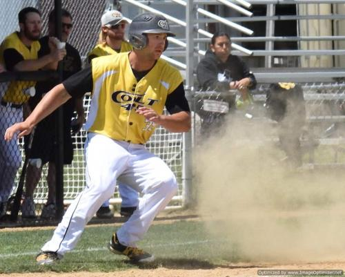 2017 Colt 45s Shane Kotz puts on the brakes after rounding 3d 2