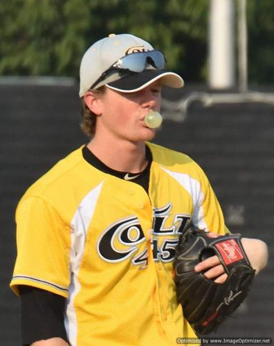 Colt 45s July 30 Curtis Perrin practices for bubble gum blowing contest