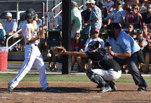 Colt 45s July 4 Devin Orr reacts after getting hit by pitch in first inning