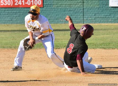 Colt 45s July 4 Sierra's Keith Hale stelas second as Colt 45s shortstop Devin Orr takes the throw