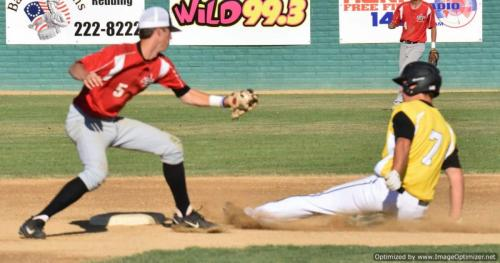 Colt 45s July 9 Keaton Glover steals second base as Portland's Brock Dyer takes the throw
