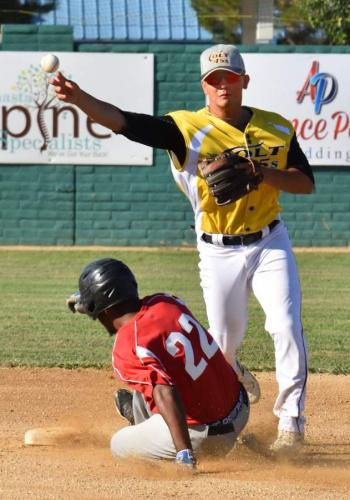 Colt 45s July 9 Marcus Lydon throws over Portland's Kane Brock to complete a first-inning double play
