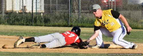 Colt 45s July 9 Portland's Justin Henningson barely gets back to first as Casey Trosclair puts the tag on