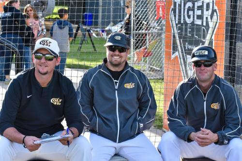 2019 Colt 45s coaches, left to right, manager Berek Fasking, third base coach Justin Sybesma, first base coach Brett Miller. Photo by Bill Wagner