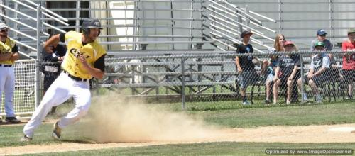 2017 Colt 45s Shane Kotz puts on the brakes after rounding 3d