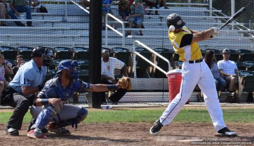 Ball bounces up after Colt 45s Shane Kotz beat a foul ball into the dirt