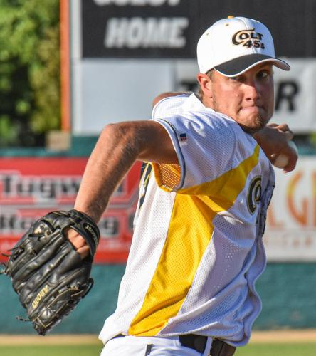Colt 45s left-hander Colby Milligan delivers a pitch Sunday at Tiger Field