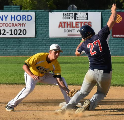 Colt 45s second baseman Connor McCoy applies the tag as Fairfield's Jackson Ketron is caught stealing Sunday night at Tiger Field