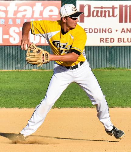 Colt 45s second baseman Connor McCoy fires to first to retire a Fairfield Indian after fielding a ground ball Sunday night at Tiger Field 2